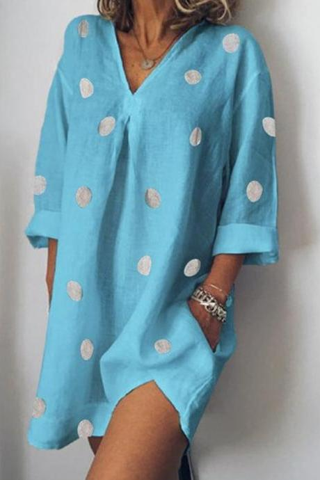 Women Polka Dot Dress V Neck Long Sleeve Casual Loose Plus Size Summer Beach Boho Mini Dress light blue