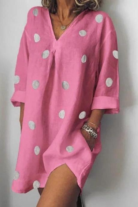 Women Polka Dot Dress V Neck Long Sleeve Casual Loose Plus Size Summer Beach Boho Mini Dress pink