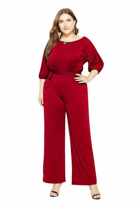 Women Jumpsuit Casual Solid Office 3/4 Sleeve Belted Streetwear Female Long Rompers Overalls red