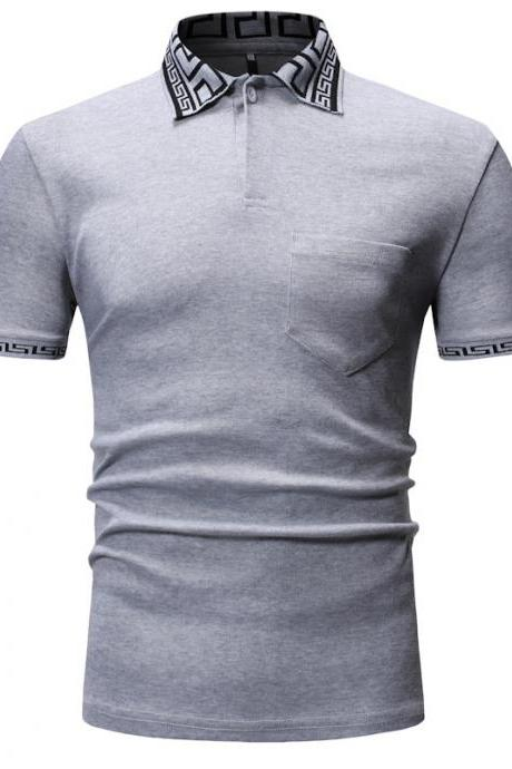 Men T Shirt Summer Short Sleeve Turn-down Collar Patchwork Casual Slim Fit T Shirt dark gray