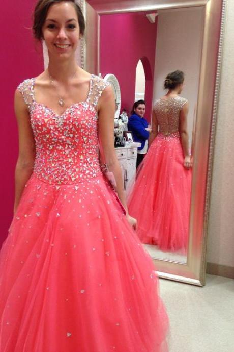Shining A-Line Prom Dresses V-Neck Sequined Crystals Tulle Sleeveless Long Evening Party Formal Gowns Custom
