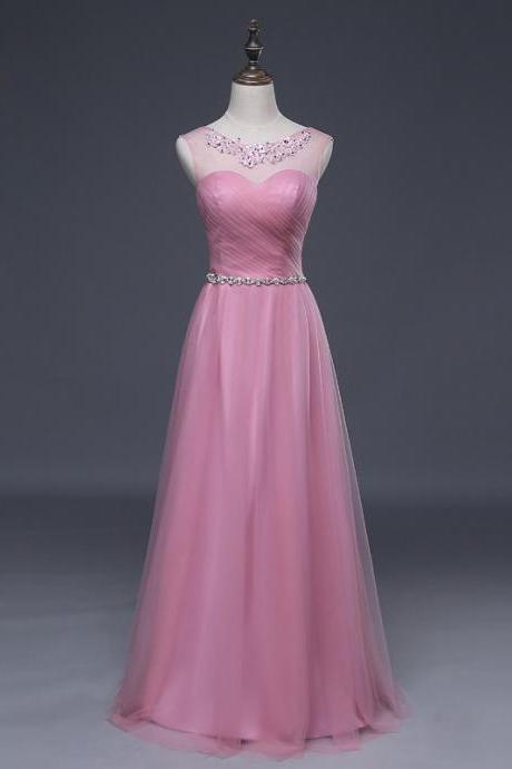 Elegant A Line Prom Evening Dresses Scoop Applique Crystals Sash Long Bridesmaid Formal Gowns