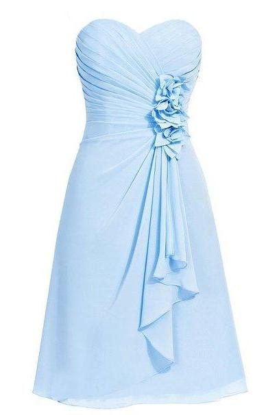 picture color A-Line Bridesmaid Dresses Sweetheart Short Handmade Flowers Backless Ruched Sleeveless Chiffon Prom Dresses