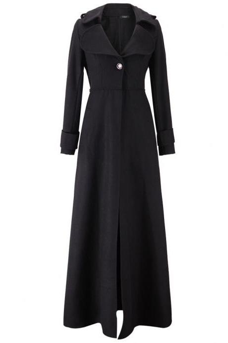 Floor Length Black Coat Women Jackets Cashmere Blend Long Sleeve Maxi Dress Wool Winter Windbreaker S M L XL 2XL