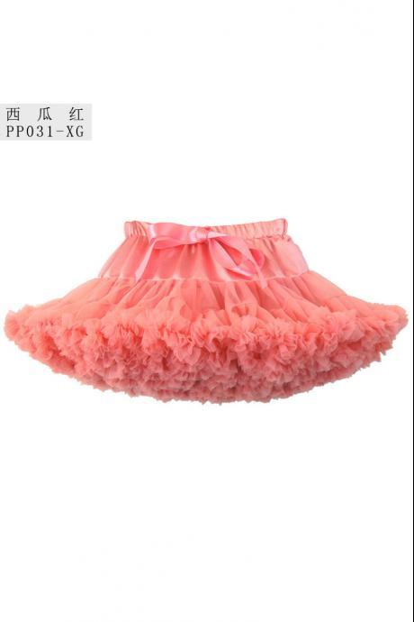 Baby Girls Tutu Skirt Fluffy Party Princess Ballet Pettiskirt Dancewear Petticoat coral Color