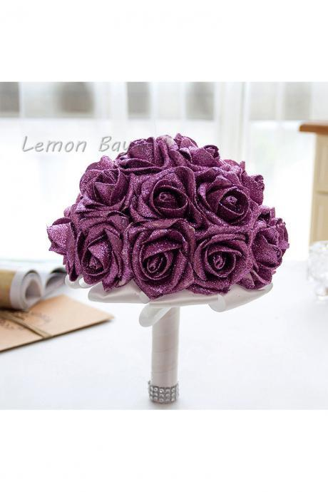 Artificial Handmade Rose Flower Bridal Bridesmaid Party Wedding Bouquet purple Color