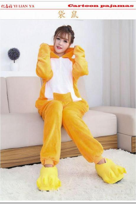 Unisex Men Women Adults Hoodie Animal Pajamas Kigurumi Anime Cosplay Costume Sleepwear Flannel Onesie kangaroo