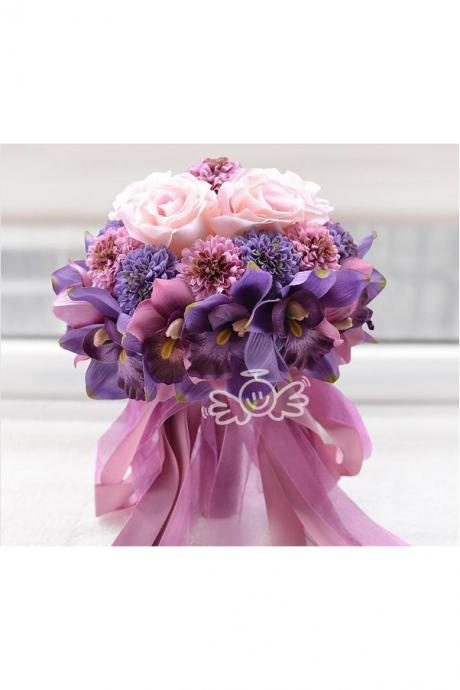 Beach Wedding Flowers Bridal Bouquets Purple Rose Romantic marriage Artificial Wedding Bouquet purple Color