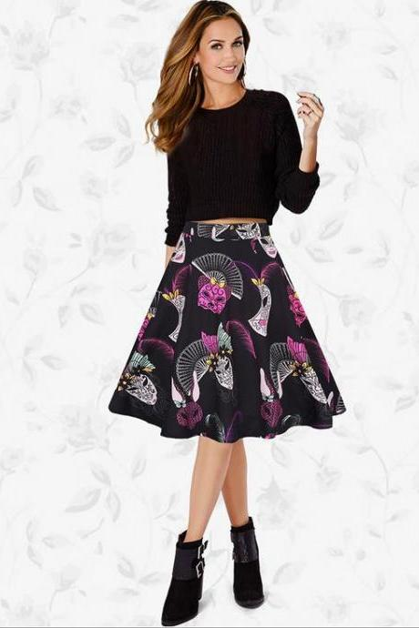 Women Lady Spring Summer Vintage Floral Printed Casual Retro A Line Women Knee Length Skirt C832-Black Color