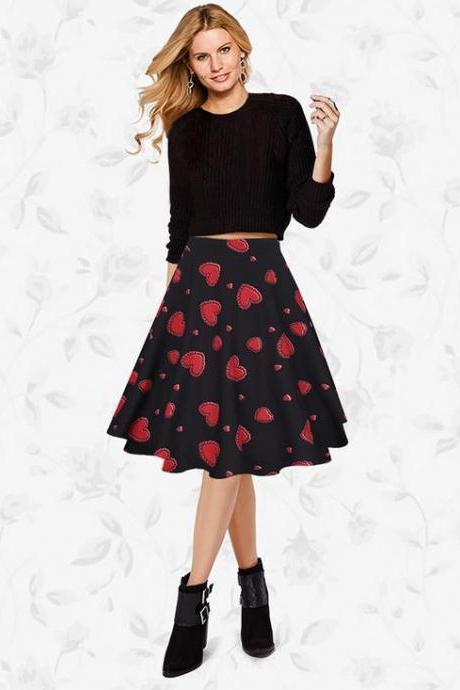 Women Lady Spring Summer Vintage Floral Printed Casual Retro A Line Women Knee Length Skirt C925-Red Color
