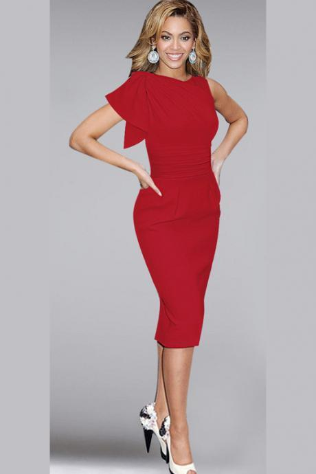 Elegant Ruffle Sleeve Knee length Work Office Casual Slim Wiggle Pencil Sheath Bodycon Women Dress Red Color