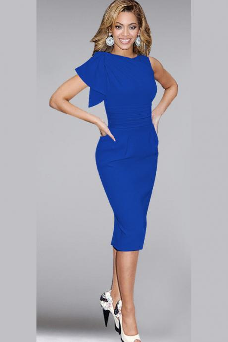 Elegant Ruffle Sleeve Knee length Work Office Casual Slim Wiggle Pencil Sheath Bodycon Women Dress blue Color