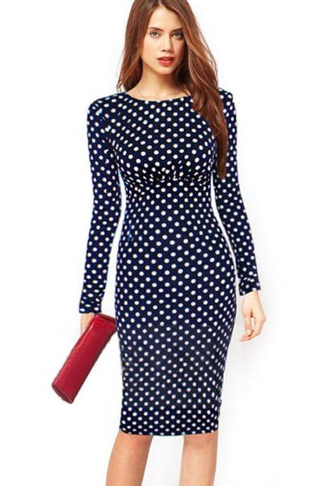 Women Vintage Polka Dot Print Long Sleeve Knee-Length Casual Stretchy Bodycon Pencil Dresses dark navy Color