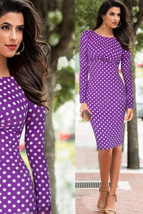 Women Vintage Polka Dot Print Long Sleeve Knee-Length Casual Stretchy Bodycon Pencil Dresses purple Color