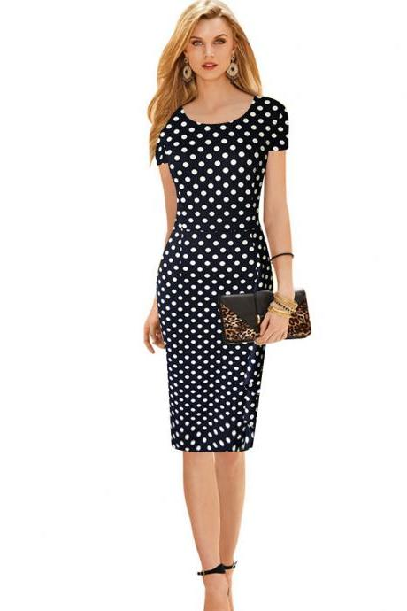 Vintage Women Polka Dot Short Sleeve Knee-Length Casual Stretchy Bodycon Pencil Business Dresses dark navy Color