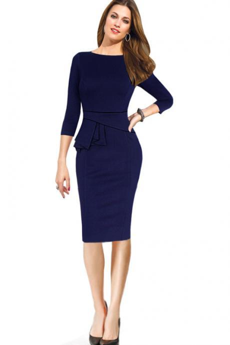 Female Peplum Work Dress 3/4 Sleeve O Neck Women Sheath Elegant Business Bodycon Pencil Dress navy blue Color