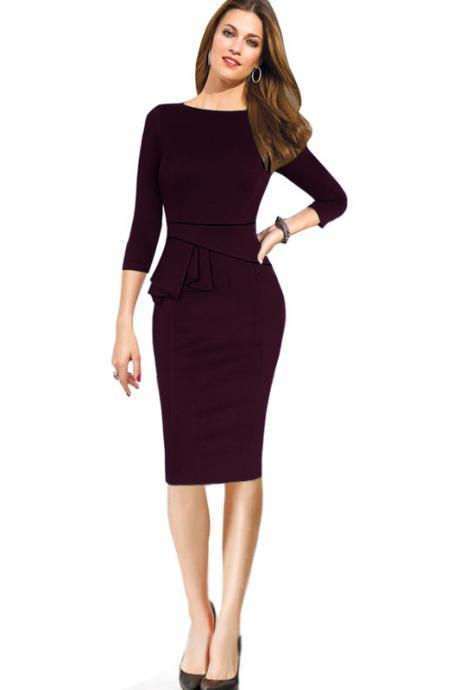 Female Peplum Work Dress 3/4 Sleeve O Neck Women Sheath Elegant Business Bodycon Pencil Dress plum Color