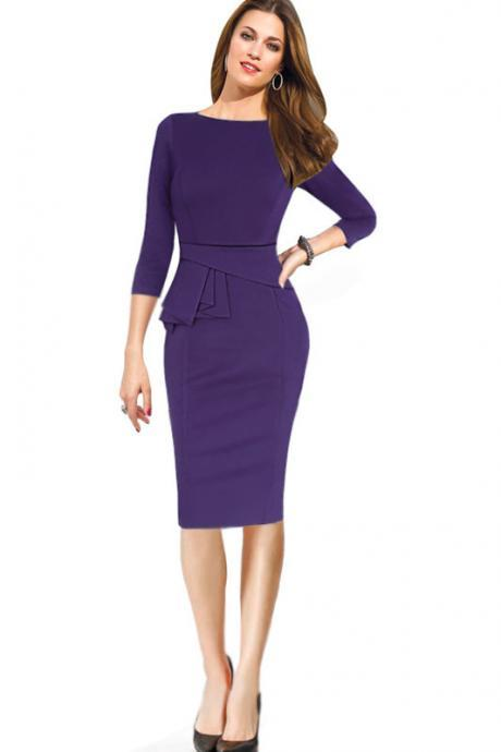 Female Peplum Work Dress 3/4 Sleeve O Neck Women Sheath Elegant Business Bodycon Pencil Dress purple Color