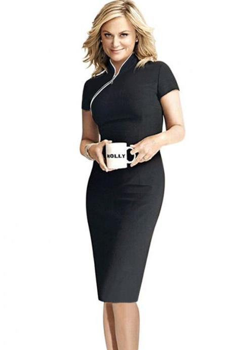 Women Short Sleeve Elegant Pencil Dress O-Neck Knee Length Patchwork Slim Office Business Dress black color