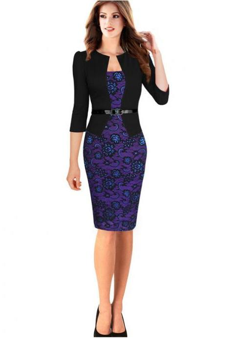 Womens Faux Jacket One-Piece Belted Tartan Lace Patchwork Wear to Work Business Pencil Sheath Bodycon Dress black color