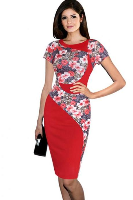 Women Short Sleeve Elegant Pencil Dress O-Neck Knee Length Patchwork Slim Office Business Dress Red color
