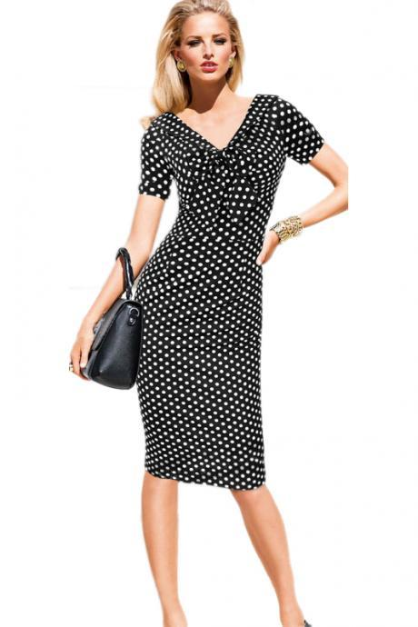 Vintage Polka Dots Short Sleeve Slim Office Casual Women Summer Bow Sheath Bodycon Pencil Dress black 1#