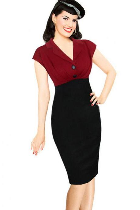 Vintage Elegant V Neck Short Sleeve Button Patchwork Work Office Business Party Tunic Sheath Pencil Dress 1#