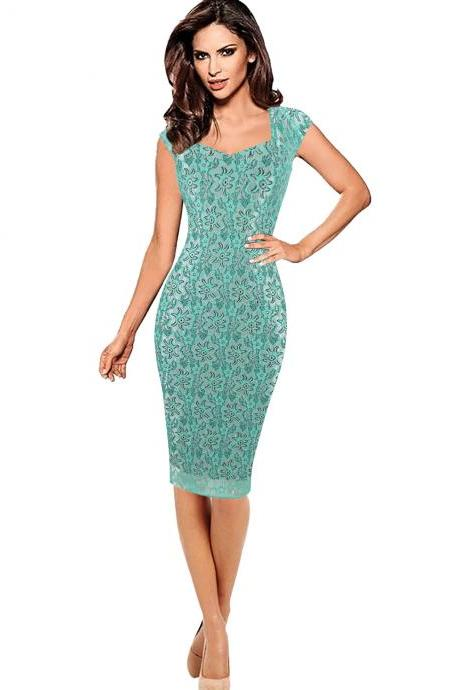 Womens Sexy Summer Floral Flower Lace Cap Sleeve Slim Casual Party Fitted Sheath Bodycon Knee Pencil Dress green color