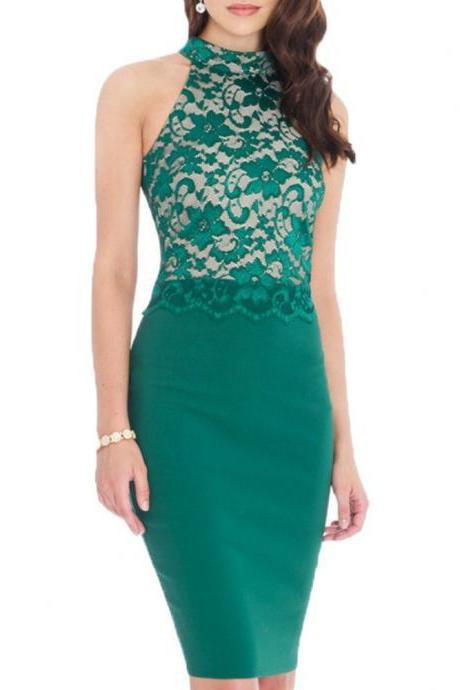 Women Summer Lace Patchwork Halter Sleeveless Patchwork Slim Club Wear Party Bodycon Pencil Dress green color