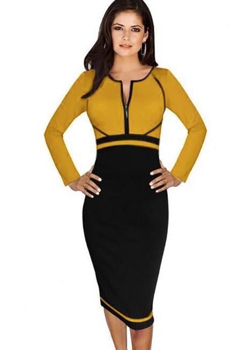 Elegant Colorblock Front Zipper High Waist Plus Size Long Sleeve Work Business Casual Office Party Sheath Pencil Bodycon Dress gold color