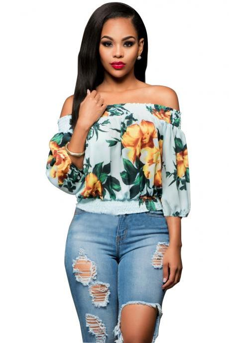 Off-The-Shoulder Cuff-Sleeved Featuring Yellow Floral Print