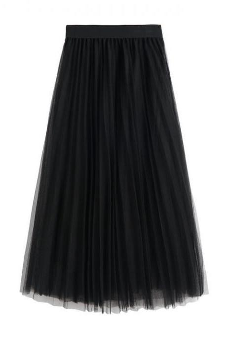 Women Tulle Skirts Elastic High Waist Lady Long Skirt Womens Tutu Maxi Pleated Skirt 85cm black Color