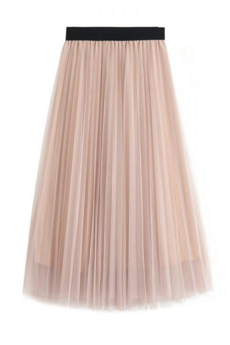 Women Tulle Skirts Elastic High Waist Lady Long Skirt Womens Tutu Maxi Pleated Skirt 85cm pink Color