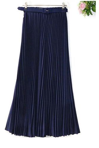 2017 Spring Summer women Chiffon Pleated Skirt Princess Solid Women Long Bohemian Female Travel style Belted Skirt navy blue Color