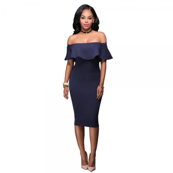 2017 Sexy Women Off Shoulder Ruffles Pencil Dresses Fashion Ladies Solid Slash Neck Package Hip Bodycon Club Dresses navy blue Color