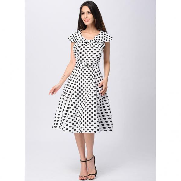 Elegant Women Cap Sleeve Polka Dot Vintage 50s Dress Bow Neck Belted Swing Casual Dress black Color