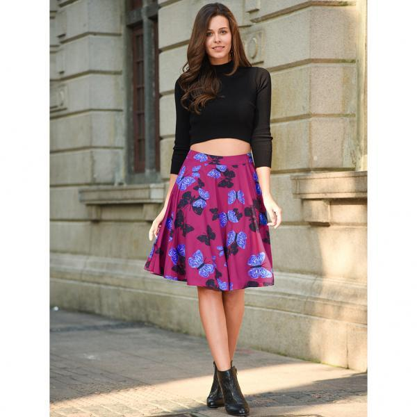 Summer Vintage Floral Print Women Pleated Skirt Lady High Waist Midi A Line Tutu Skater Skir C826-purple Color