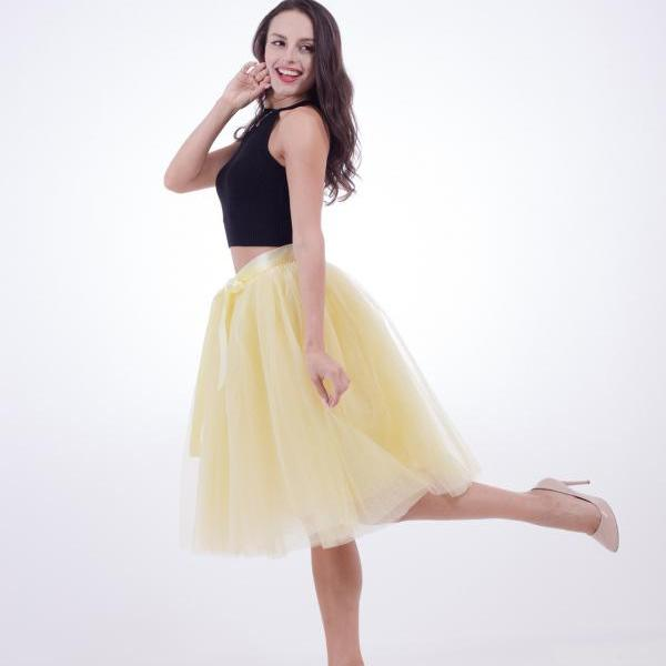 6 Layers Midi Tulle Skirts Womens Tutu Skirt Elegant Wedding Bridal Bridesmaid Skirt Lolita Underskirt Petticoat yellow