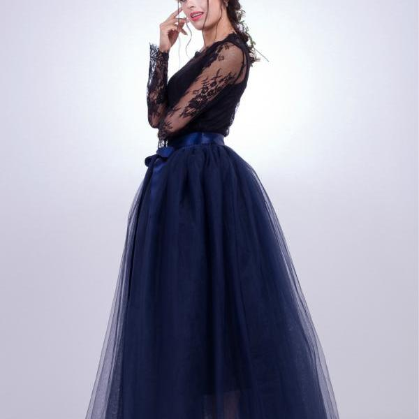 6 Layers Tulle Skirt Summer Maxi Long Muslim Skirt Womens Elastic Waist Lolita Tutu Skirts navy blue