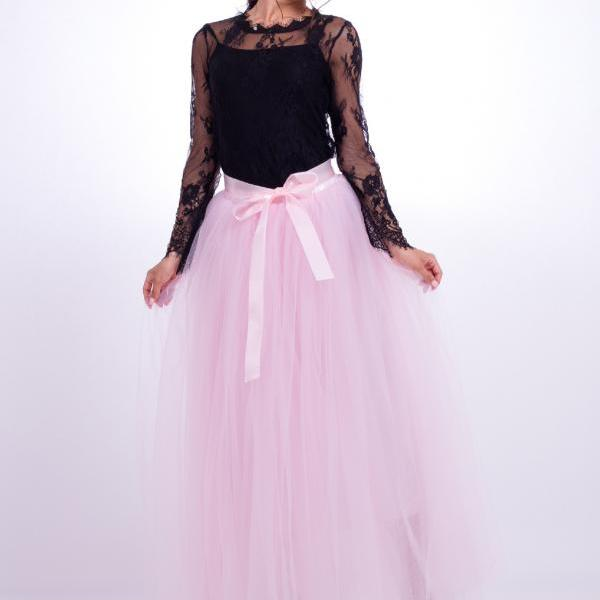 6 Layers Tulle Skirt Summer Maxi Long Muslim Skirt Womens Elastic Waist Lolita Tutu Skirts pink