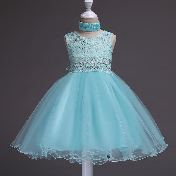 Fashion New Kids Wedding Flower Girl Dress Floral Lace Sleeveless Baby Clothes Princess Teens Daily Dress aqua