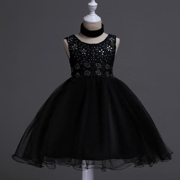Fashion New Kids Wedding Flower Girl Dress Floral Lace Sleeveless Baby Clothes Princess Teens Daily Dress black