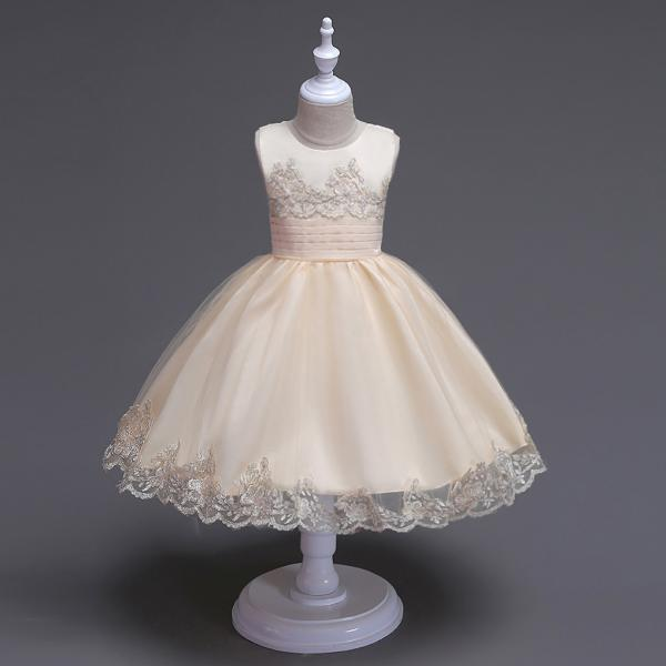 2017 Brand Quality Girls Tutu Dress Embroidery Flower Lace Kids Clothes Princess Prom Party Wear champagne