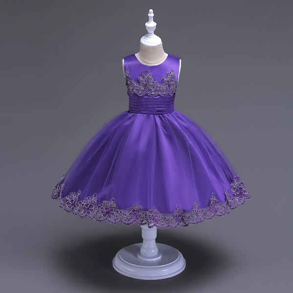 2017 Brand Quality Girls Tutu Dress Embroidery Flower Lace Kids Clothes Princess Prom Party Wear purple
