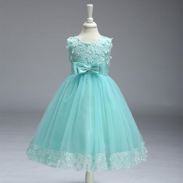 Flower Girl Dresses for Wedding Pageant First Holy Lace Communion Dress Kids Children Clothes Teens A Line Dress aqua