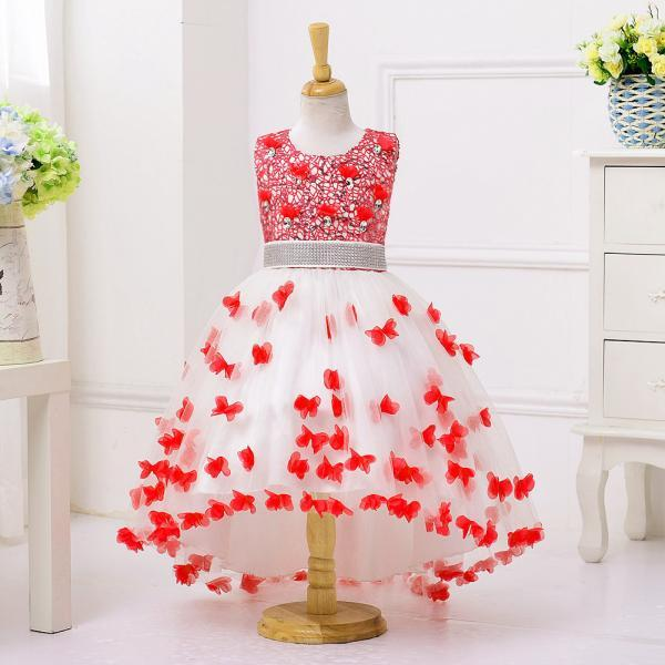 High Low Flower Girl Dress Sequins Trailing Butterfly Wedding Gown Kids Party Prom Children Dress red