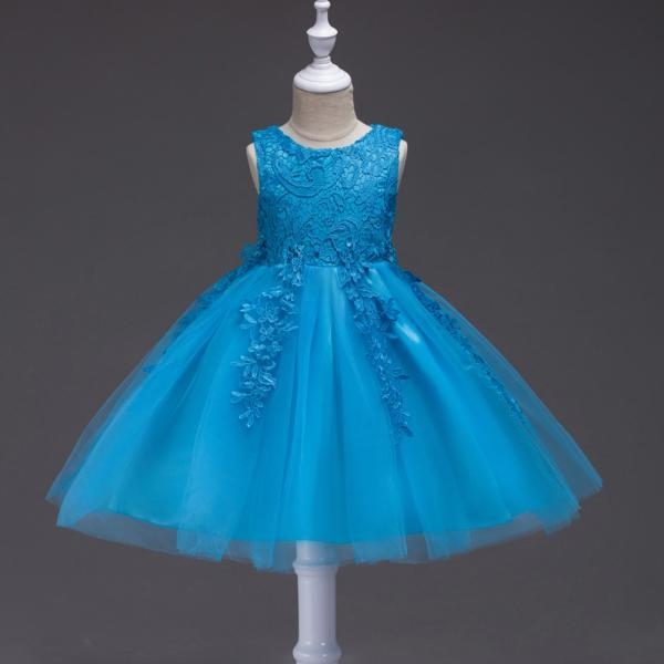 Kids Tutu Birthday Princess Party Dress Infant Lace Flower Girls Children Bridesmaid Dress Baby Clothes blue