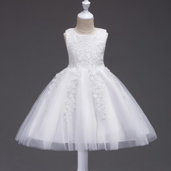 Kids Tutu Birthday Princess Party Dress Infant Lace Flower Girls Children Bridesmaid Dress Baby Clothes off white