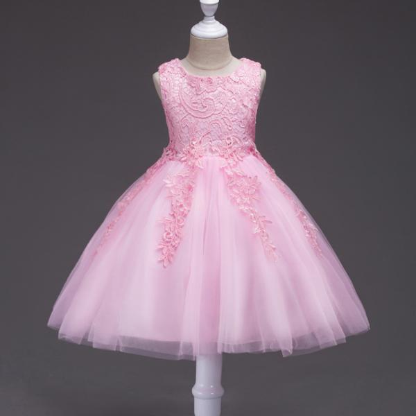 Kids Tutu Birthday Princess Party Dress Infant Lace Flower Girls Children Bridesmaid Dress Baby Clothes pink