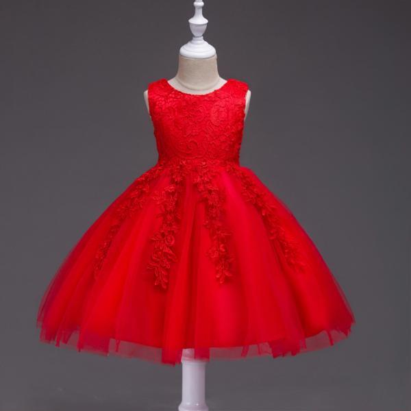 Kids Tutu Birthday Princess Party Dress Infant Lace Flower Girls Children Bridesmaid Dress Baby Clothes red